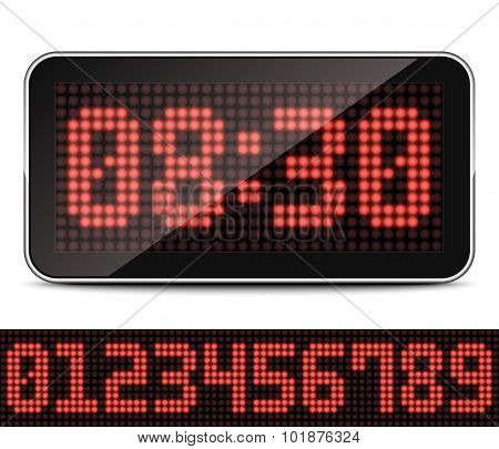 Digital Led Clock, Vector Illustration