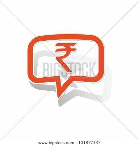 Indian rupee message sticker, orange