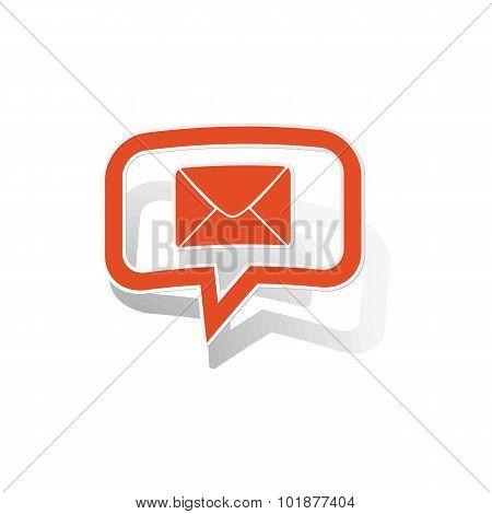 Letter message sticker, orange