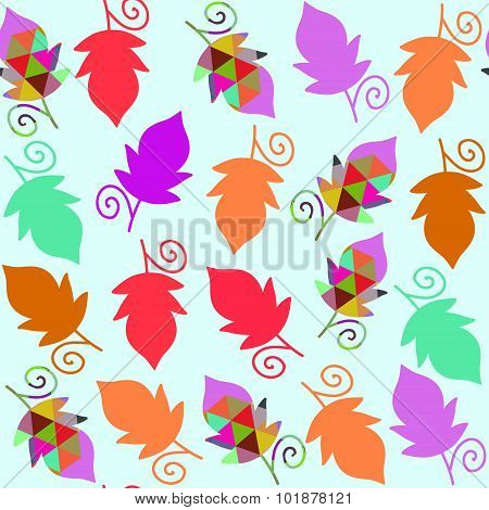 Floral Vector Seamless Pattern With Colorful Cool Leaves And Seamless Pattern In Swatch Menu