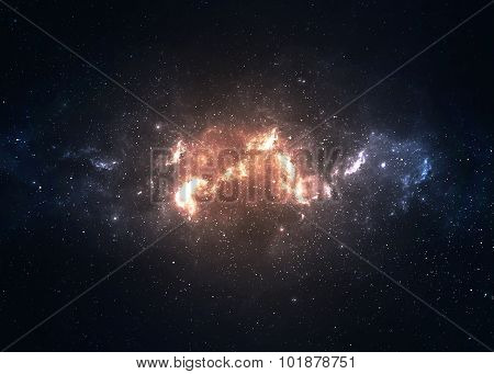 Star field in  deep space many light years far from the Earth