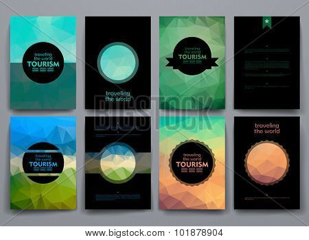 Set of brochures in poligonal style on tourism theme
