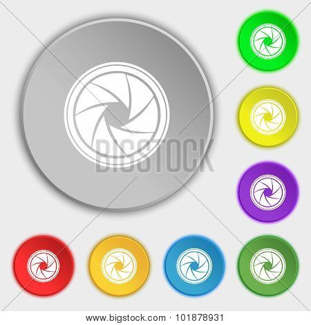 Diaphragm Icon. Aperture Sign. Symbols On Eight Flat Buttons. Vector