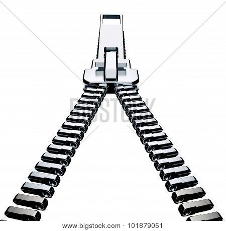 Metal Zipper Isolated On White With Clipping Path