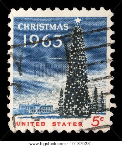 USA - CIRCA 1963- US Christmas postage stamp shows the White House and the National Christmas Tree in Washington DC., circa 1963.