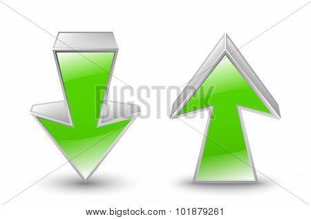 Green Arrows Icon. Vector Illustration
