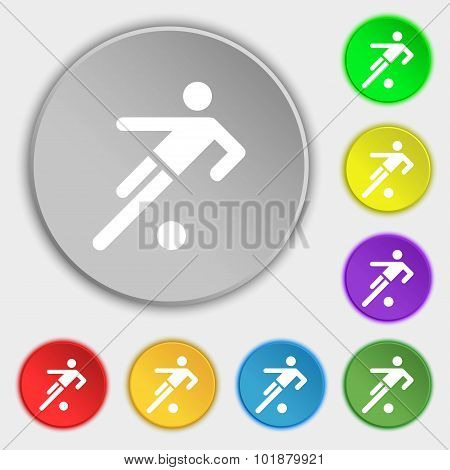 Football Player Icon. Symbols On Eight Flat Buttons. Vector