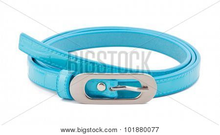 Cyan woman belt isolated on white background.