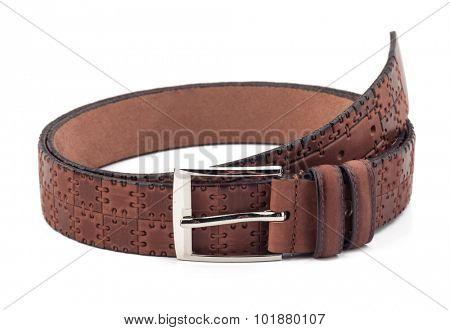 Men brown belt isolated on white.
