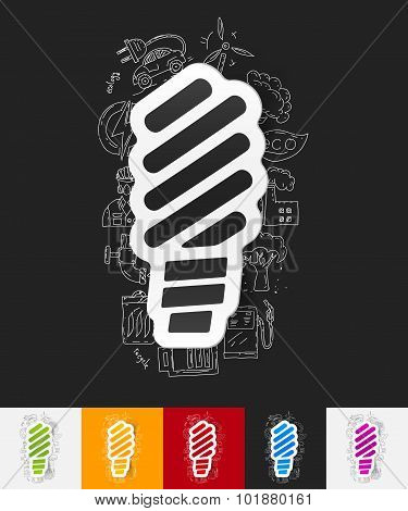 fluorescent light bulb paper sticker with hand drawn elements