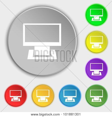 Computer Widescreen Monitor Sign Icon. Symbols On Eight Flat Buttons. Vector