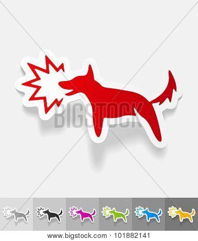 realistic design element. dog barking