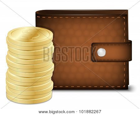 Leather Wallet With Gold Coins. Vector Illustration