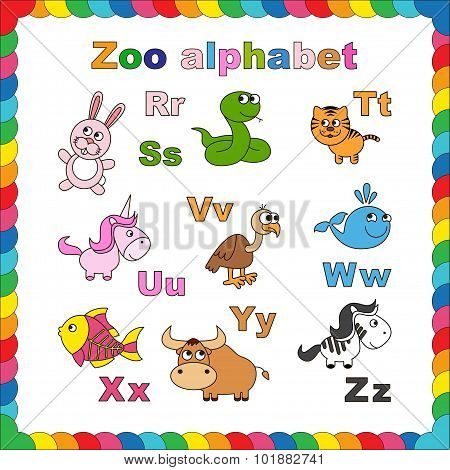 Outline zoo alphabet to be colored.