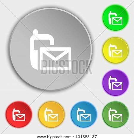 Mail Icon. Envelope Symbol. Message Sms Sign. Symbols On Eight Flat Buttons. Vector
