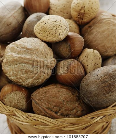Close Up of Nuts Assortment in a Basket