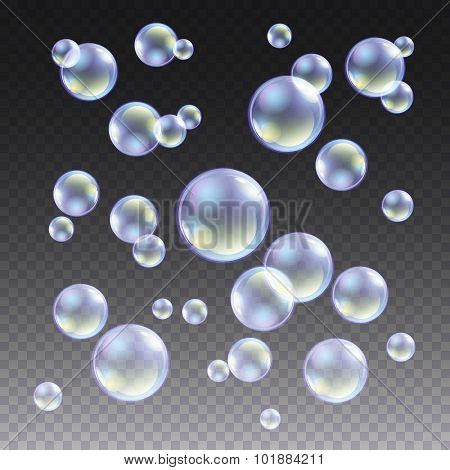 Transparent Blue Soap Bubbles Vector Set On Plaid Background. Sphere Ball, Design Water And Foam