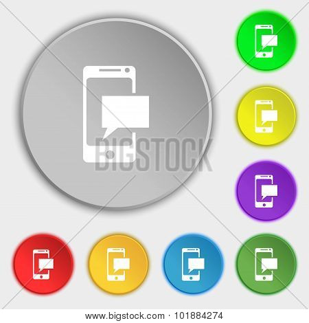Mail Icon. Envelope Symbol. Message Sms Sign. Mails Navigation Button. Symbols On Eight Flat Buttons