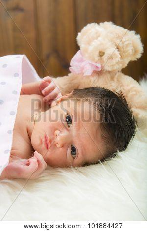 Happy Newborn Girl Whit Her Teddy