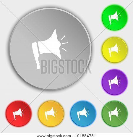 Megaphone Soon Icon. Loudspeaker Symbol. Symbols On Eight Flat Buttons. Vector