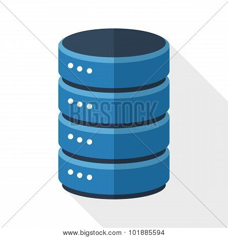 Data Storage Icon With Long Shadow On White Background