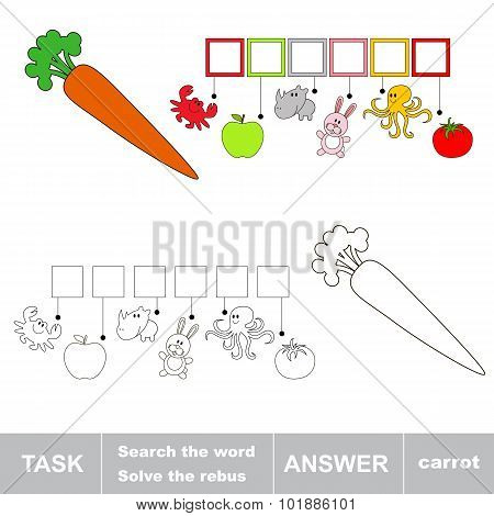 Solve the rebus. Find hidden word CARROT.