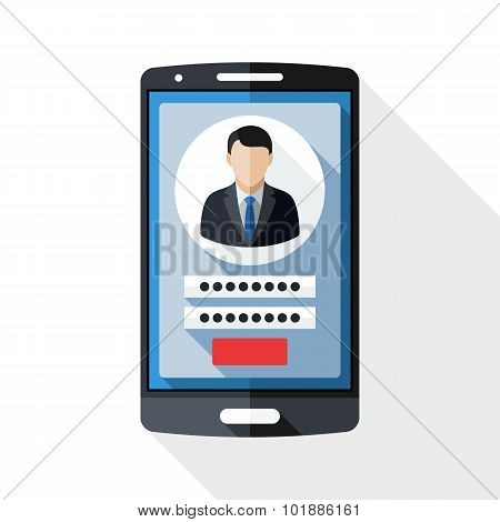 Smart Phone Icon With User Login Form And Long Shadow On White Background