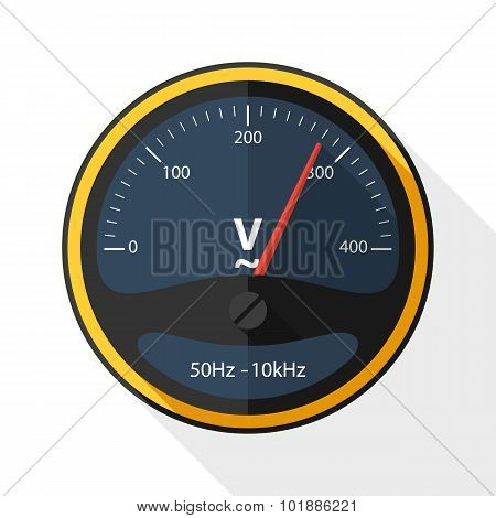 Voltmeter Icon With Long Shadow On White Background