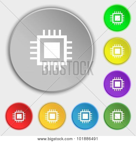 Central Processing Unit Icon. Technology Scheme Circle Symbol. Symbols On Eight Flat Buttons. Vector