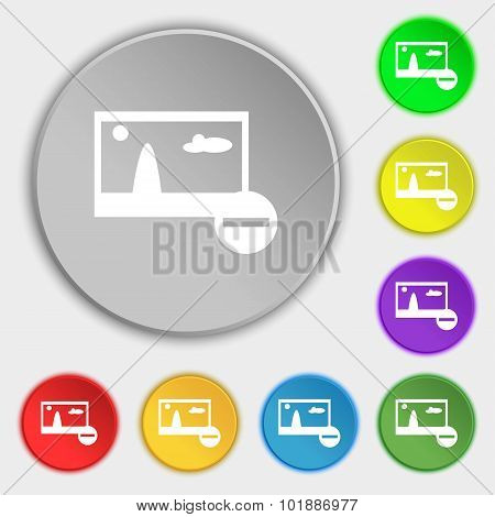 Minus File Jpg Sign Icon. Download Image File Symbol. Set Colourful Buttons. Symbols On Eight Flat B