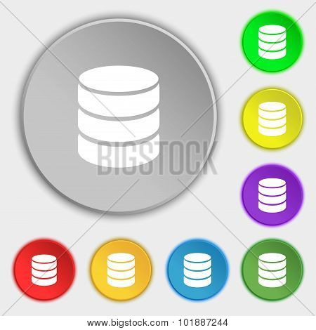 Hard Disk And Database Sign Icon. Flash Drive Stick Symbol. Symbols On Eight Flat Buttons. Vector