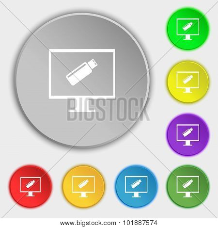 Usb Flash Drive And Monitor Sign Icon. Video Game Symbol. Symbols On Eight Flat Buttons. Vector