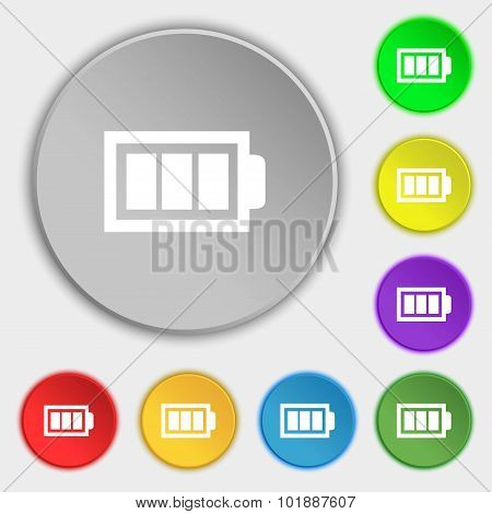 Battery Fully Charged Sign Icon. Electricity Symbol. Symbols On Eight Flat Buttons. Vector