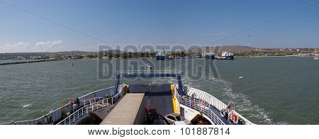 KERCH,RUSSIA-September 11: The ferry departs from the port Kerch