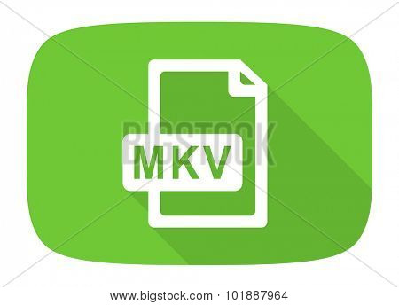 mkv file flat design modern icon with long shadow for web and mobile app