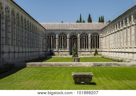 Pisa, Piazza dei Miracoli - inner courtyard of the monumental cemetery.