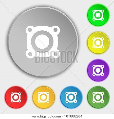Speaker Volume Sign Icon. Sound Symbol. Symbols On Eight Flat Buttons. Vector