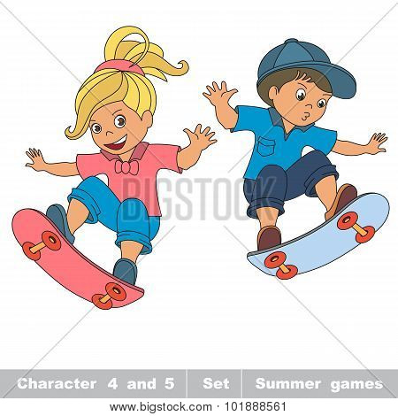 Summer outdoor games for children. Kids summer sport.