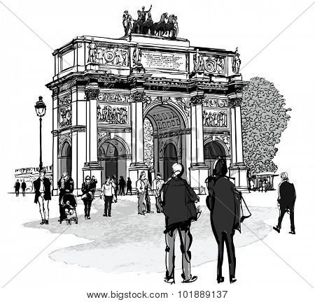 Arch of triumph Carousel and Tuileries garden in Paris - vector illustration