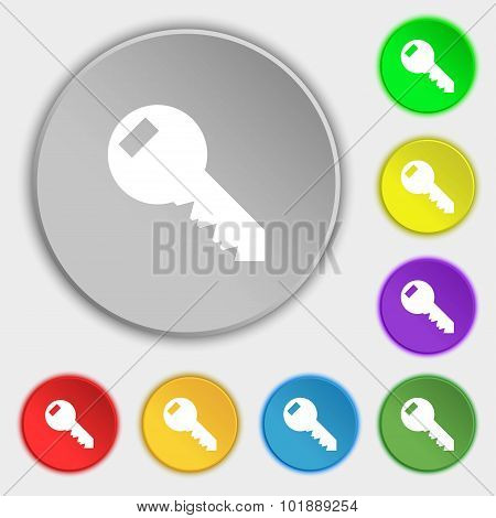 Key Sign Icon. Unlock Tool Symbol.. Symbols On Eight Flat Buttons. Vector