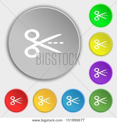 Scissors With Cut Dash Dotted Line Sign Icon. Tailor Symbol. Symbols On Eight Flat Buttons. Vector