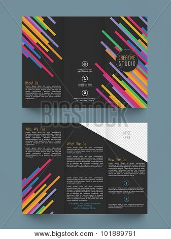 Colorful abstract design decorated stylish Trifold, Flyer, Banner or Template design.