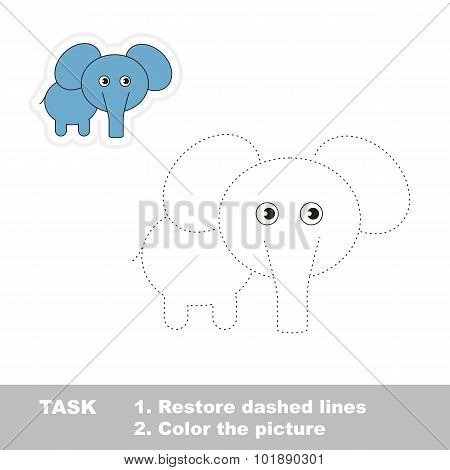One cartoon elephant to be traced.