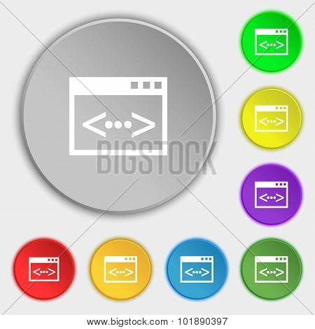 Code Sign Icon. Programmer Symbol. Symbols On Eight Flat Buttons. Vector