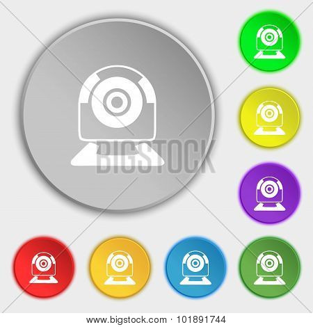 Webcam Sign Icon. Web Video Chat Symbol. Camera Chat. Symbols On Eight Flat Buttons. Vector