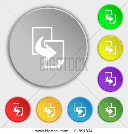 Copy File Sign Icon. Duplicate Document Symbol. Symbols On Eight Flat Buttons. Vector