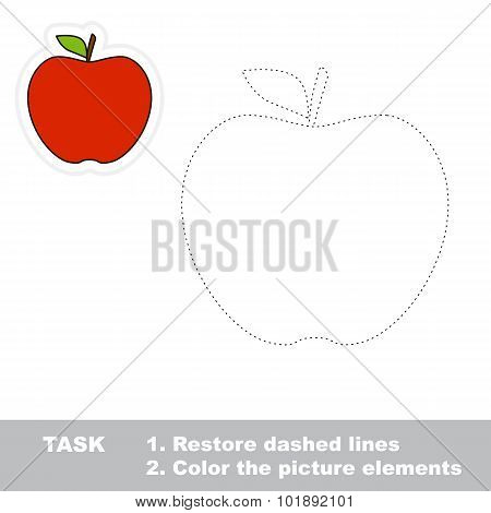 One cartoon red apple.
