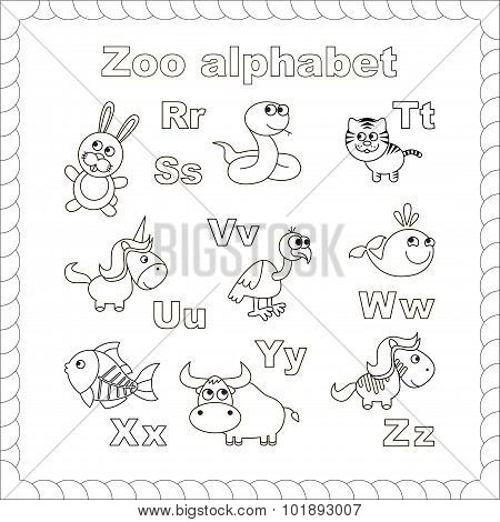 Isolated. Rabbit, hare, snake, tiger, unicorn, vulture, whale, x