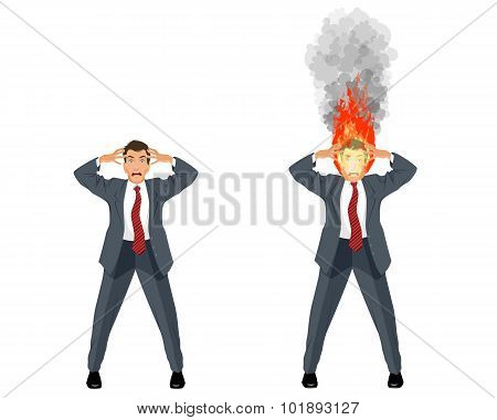 Businessman With Burning Head