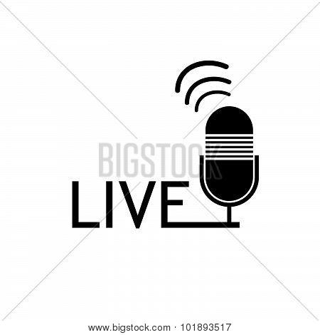 Microphone Live Black Vector